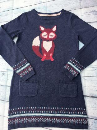 Fatface blue fox jumper dress age 10-11